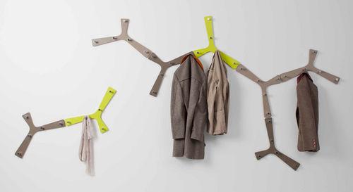 original design coat hook / aluminum / lacquered MDF / multi-person