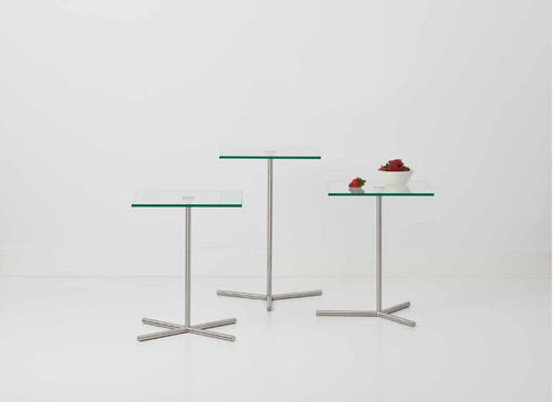 contemporary side table / glass / tempered glass