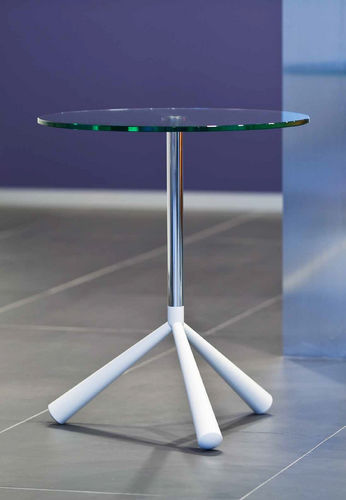 contemporary side table / glass / tempered glass / round