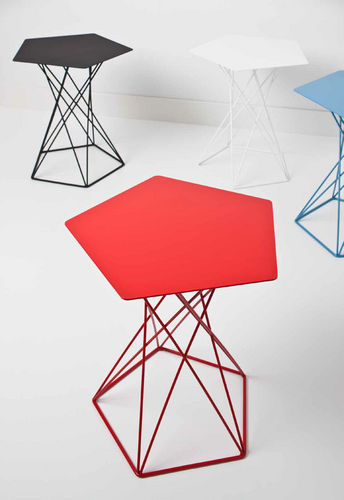 contemporary side table / steel / hexagonal / commercial