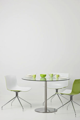 contemporary dining table / glass / tempered glass / round