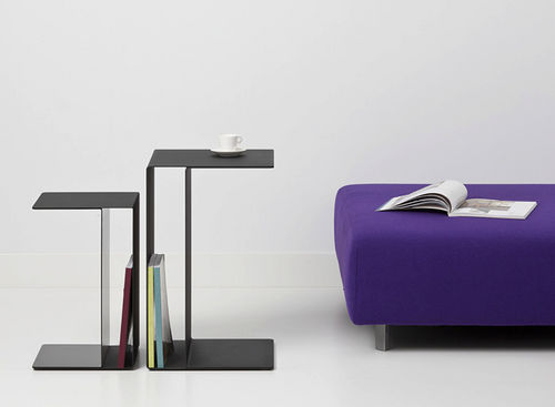 contemporary side table / lacquered metal / rectangular / commercial