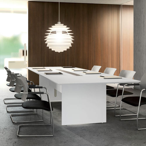 contemporary conference table / lacquered wood / rectangular / for public buildings