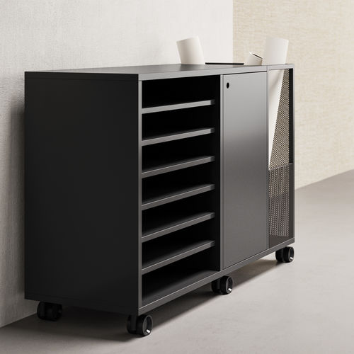 low filing cabinet / melamine / with hinged door / on casters