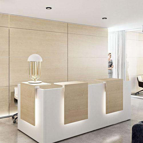 glass reception desk / MDF