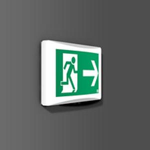 wall-mounted emergency light / rectangular / LED / plastic