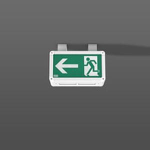 ceiling emergency light / rectangular / fluorescent / aluminum