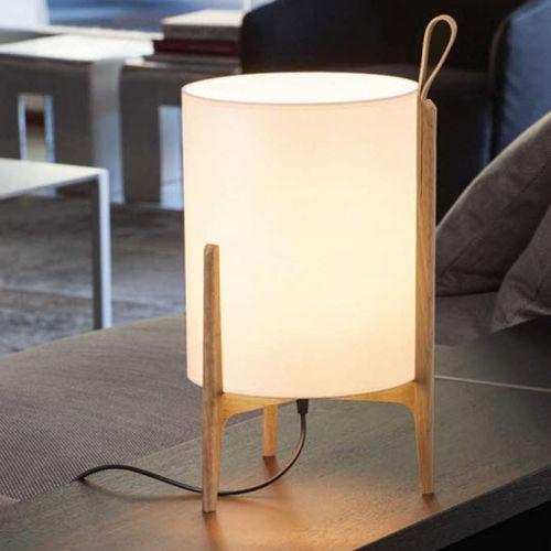 table lamp / contemporary / linen / oak