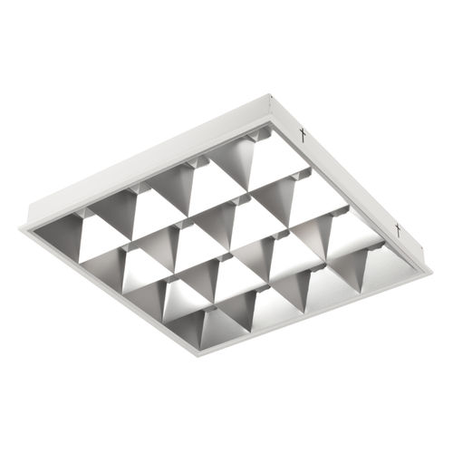 recessed ceiling light fixture / LED / square / sheet steel