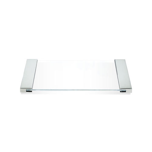 chromed metal serving tray / glass / for bathtubs