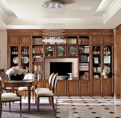 traditional living room wall unit / walnut