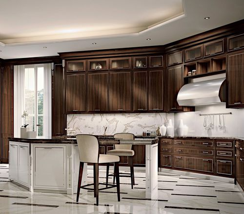 contemporary kitchen / rosewood / island / with handles