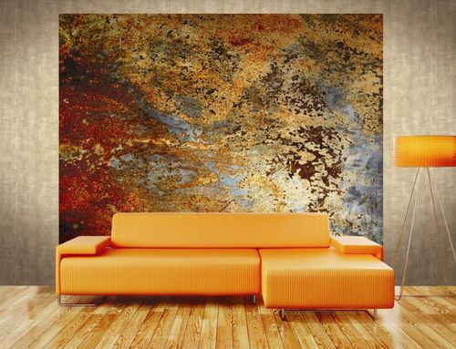 contemporary wallpaper / patterned / metal look / orange