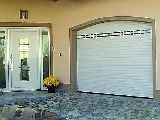 roll-up garage door / aluminum / automatic
