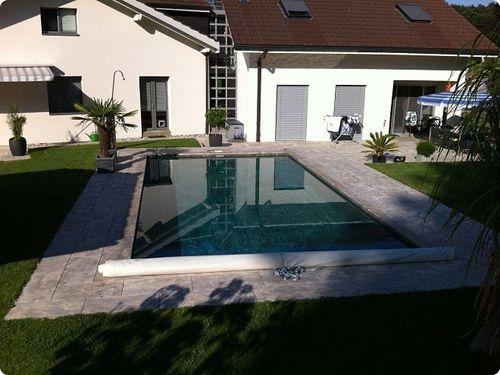 poolside tile / floor / natural stone / plain