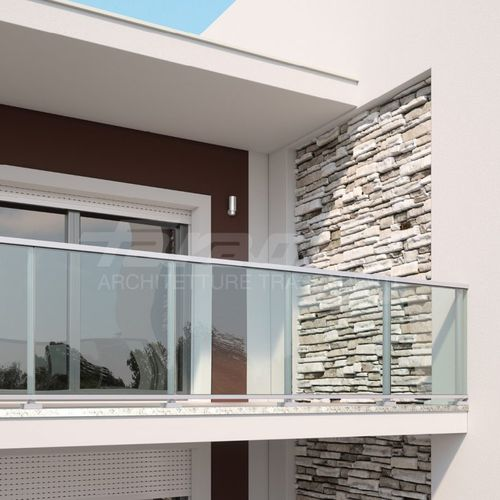 glass railing / aluminum / glass panel / outdoor