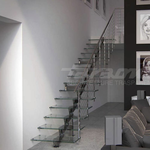 helical staircase / metal frame / glass steps / without risers