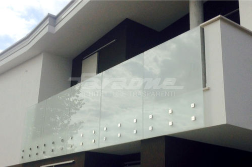 glass railing / stainless steel / glass panel / indoor