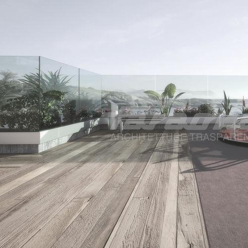 glass railing / aluminum / glass panel / outdoor