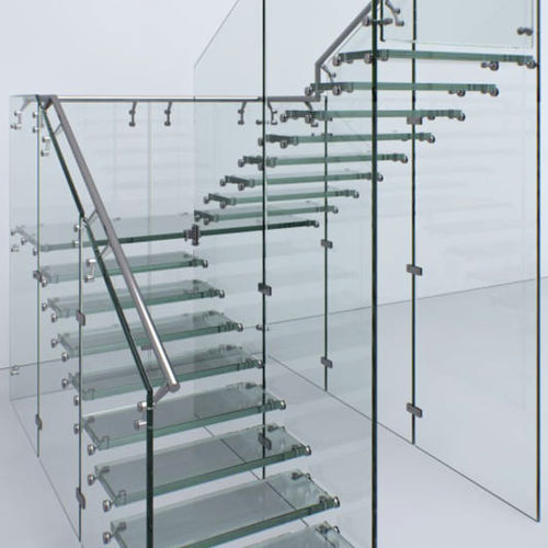 half-turn staircase / glass frame / glass steps / without risers