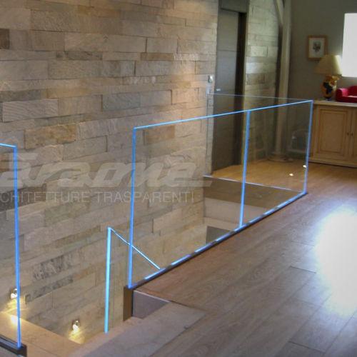 aluminum railing / glass / glass panel / indoor