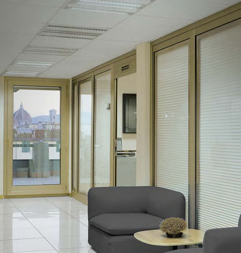 pleated blinds / fabric / metal / commercial