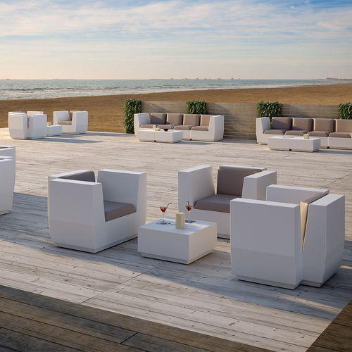 contemporary armchair / polyethylene / white / contract