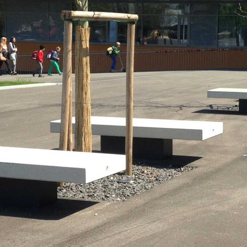 public bench / contemporary / metal / stone