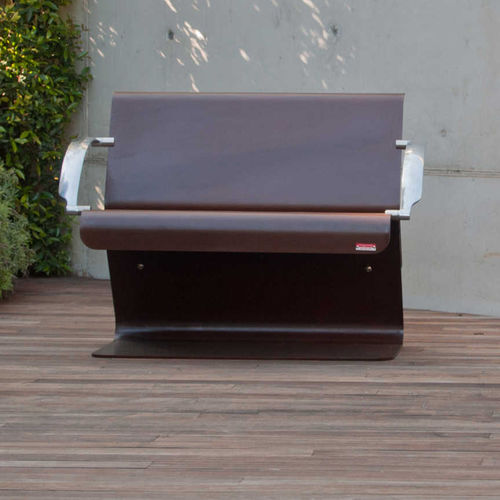 public bench / contemporary / COR-TEN® steel / with backrest