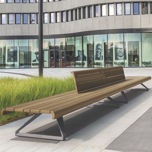 public bench / contemporary / exotic wood / aluminum