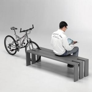 public bench / contemporary / steel / with integrated bike rack