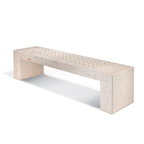 public bench / contemporary / reinforced concrete / travertine