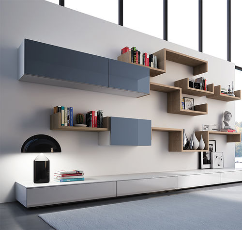 wall-mounted shelf / contemporary / wooden / glass