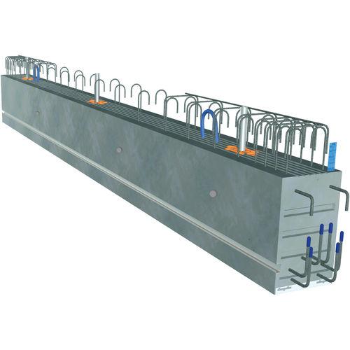 prefab beam / prestressed concrete / rectangular / for flooring