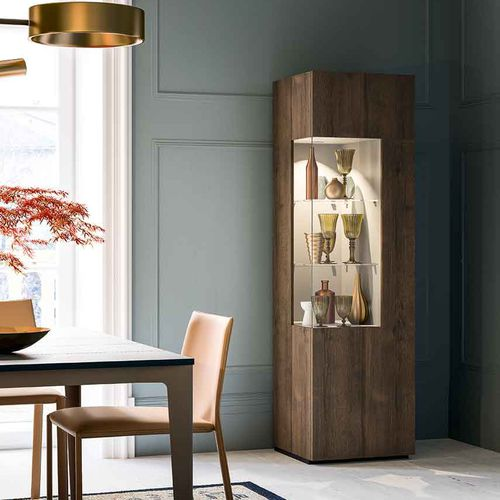 contemporary display case / lacquered wood / illuminated