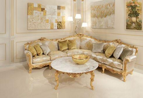corner sofa / New Baroque design / fabric / 6-person