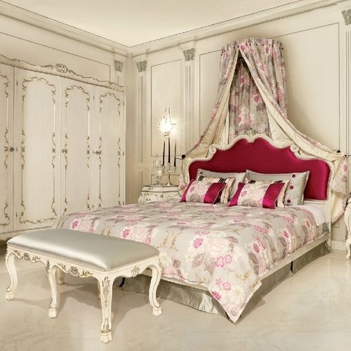 double bed / Louis XVI style / with upholstered headboard / fabric
