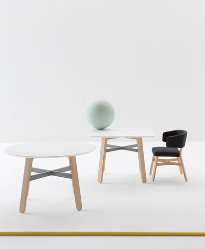 contemporary table / beech / laminated MDF / beech base