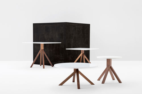 contemporary table / metal / walnut / beech
