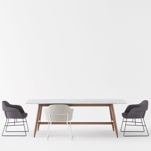 contemporary table / marble / beech / lacquered MDF