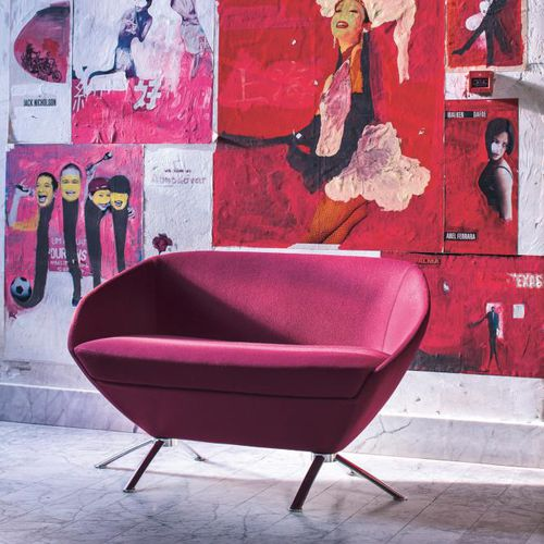 contemporary upholstered bench / fabric / metal / contract