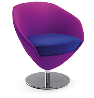 contemporary chair / upholstered / with armrests / central base
