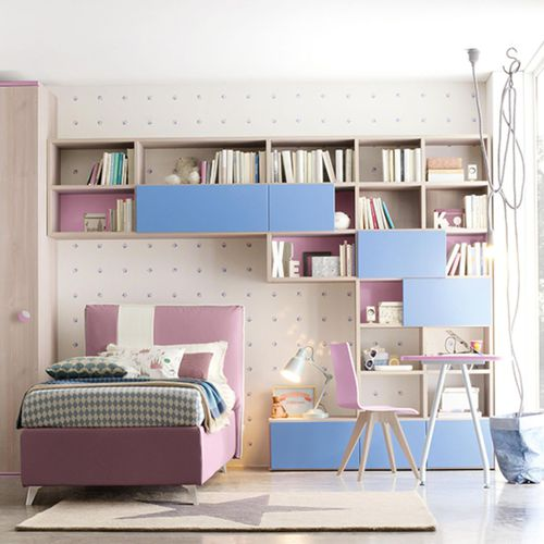 purple children's bedroom furniture set / blue / lacquered wood / unisex