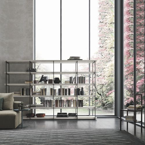 modular shelf / contemporary / lacquered wood / lacquered steel