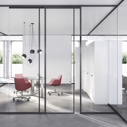 fixed partition / wooden / glazed / aluminum