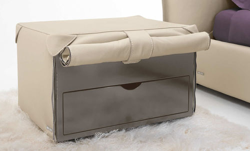 contemporary bedside table / wooden / leather / rectangular