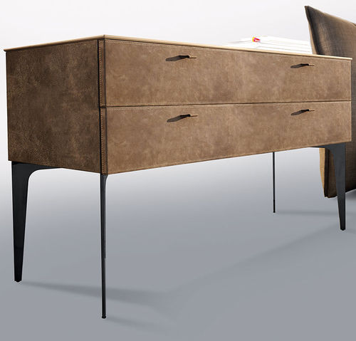 traditional bedside table / smoked glass / stainless steel / leather