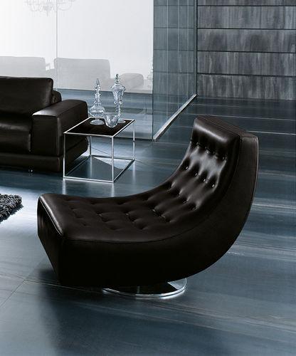 contemporary fireside chair / steel / swivel / brown