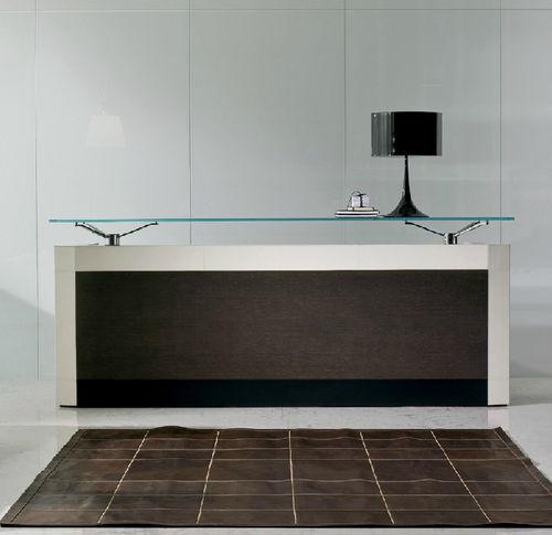 laminate reception desk / glass / leather