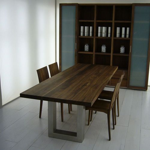 contemporary table / iron / stainless steel / stainless steel base